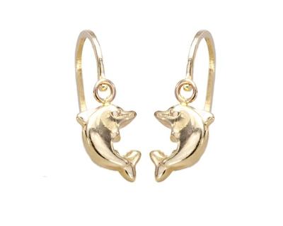 A010 Baba, gyermek, delfines, elől kapcsos, sárga arany fülbevaló