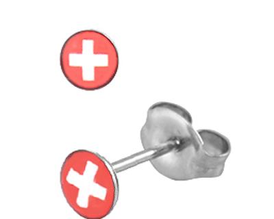 S87 Studex Sensitive divat fülbevaló, svájci zászló