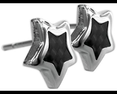 S92 Studex Sensitive divat fülbevaló, csillag, fekete kővel