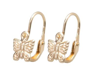 A194 Baba, gyermek, sárga arany, elől kapcsos, pillangós fülbevaló
